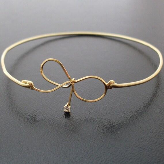 Bangle Bracelet Bow - Gold