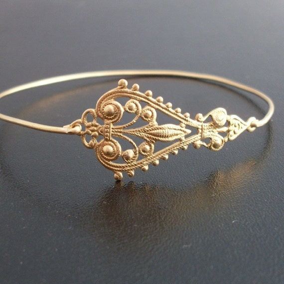 Gold Filigree Bracelet, Filigree Jewelry, Gypsy Boho Jewelry, Gold Bohemian Bracelet, Gold Boho Bangle, Filigree Bangle - Maylana