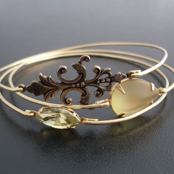 First Sunlight Bangle Bracelet Set by Frosted Willow - Gold, Yellow, Fleur de Lis... Themes: Antique Bracelet, Antique Jewelry, Antique Gold