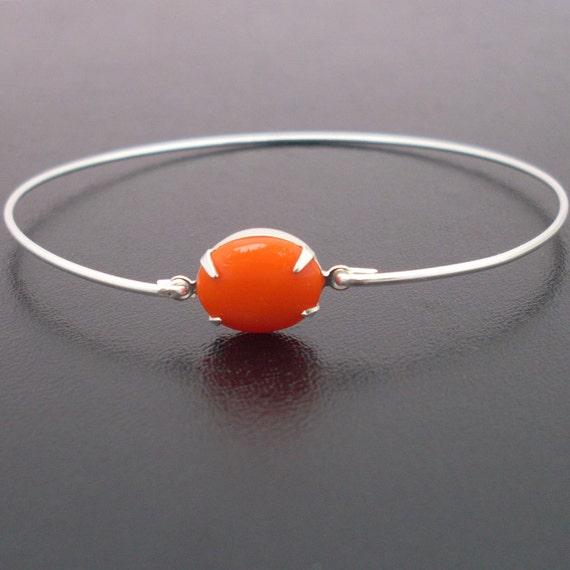 Bright Orange Bracelet Tanja - Silver, Orange Stone, Orange Bangle Bracelet, Tangerine Orange Bracelet, Tangerine Jewelry, Orange Jewelry