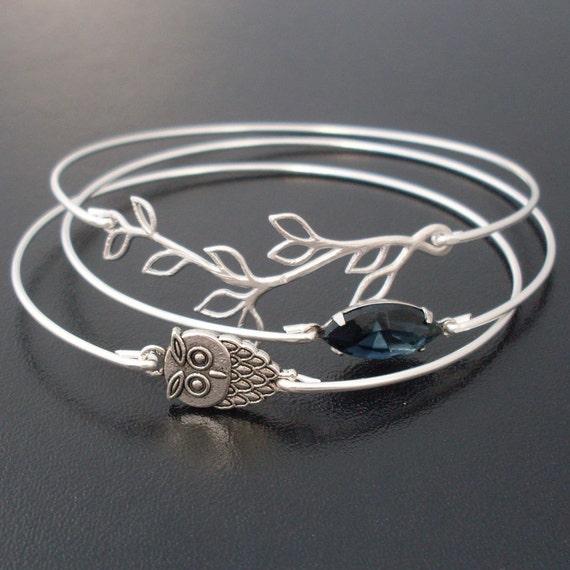 RESERVED Midnight Owl Bangle Bracelet Set, Silver, Grey