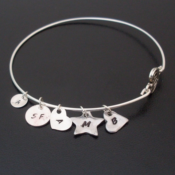 ADD an initial heart charm to any of my bangles - Aluminum