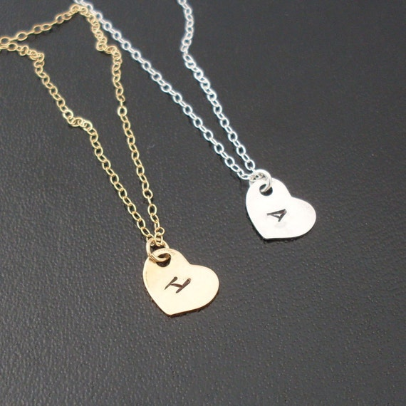 Sideways Heart Initial Necklace, Personalized Heart Charm Necklace, Gold Heart Necklace or Sterling Silver Necklace, Initial Heart Necklace