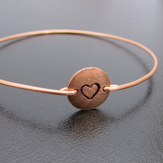 Initial or Heart Bangle Bracelet, Personalized Copper Jewelry, Copper Anniversary Gift, 7th, Hand Stamped Bangle Bracelet, Heart Jewelry
