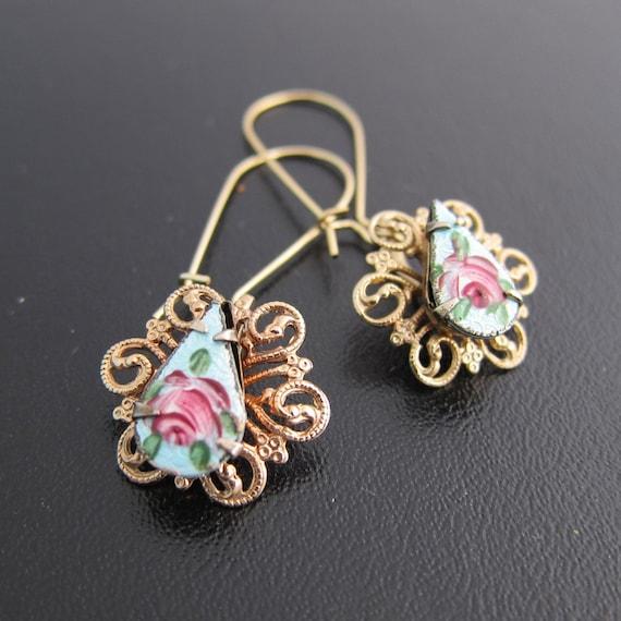 Earrings Flower - Gold, Vintage Enamel