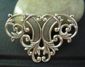 1PC ox sterling silver plated brass art nouveau ornate filigree stamping findings--18