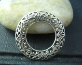 1 pc Filigree Domed Open Circle Oxidized Silver brass