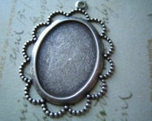 1 PC oxidized sterling silver plated brass lace edge 25x18 mm oval setting---3