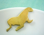 1 pc solid sturdy SEA LION embellishment raw brass stamping (SP0065)