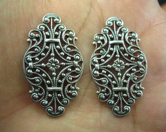 2 PC ox sterling silver plated brass Victorian Style Filigree Stamping