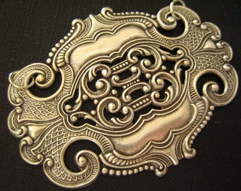 Rare-- Huge classy vintage oxidized sterling silver plated  brass art nouveau celtic shield finding pendant--43