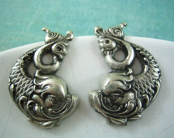 Two pcs aged silver brass koi fish stamping --E24