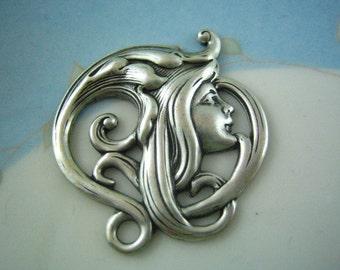 1 pc ART NOUVEAU woman goddess ox silver brass stamping embellishment (SP0035)