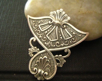 1PC highly detailed Egyptian Influenced Embellishments Oxidized sterling silver plated Brass-14