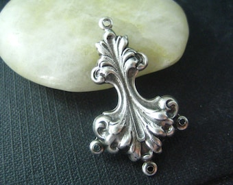 1PC Rococo Connector Oxidized Silver 38mm--24