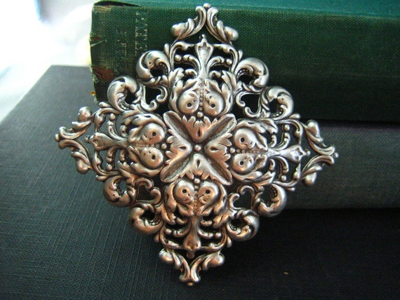 1PC large Ornate Domed art nouveau Square Stamping Oxidized Silver