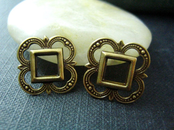 2PC highly detailed Openwork Fancy Square 19mm Oxidized brass