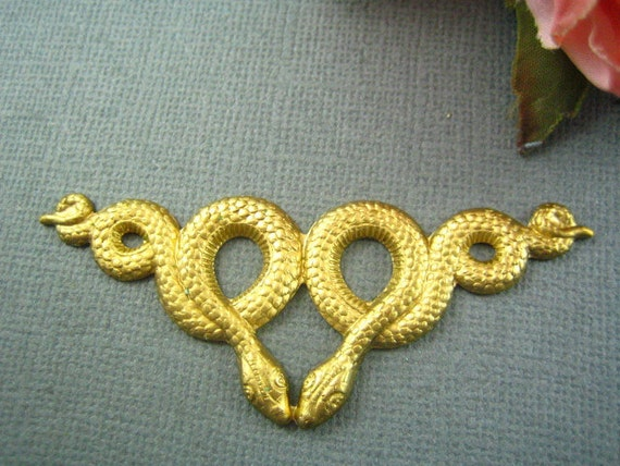 1pc large double snake raw brass stamping-- jewelry findings (RB106)