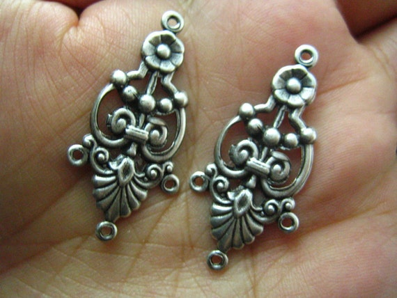 2 PC Ornate Three Strand Connectors Oxidized Silver Plated