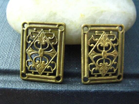 2 PC vintage brass Art Deco Style  rectangle  four hole Connectors Oxidized brass