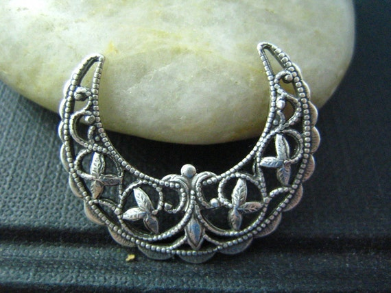 1 PC Half Moon Crescent Filigree Stamping Oxidized stering silver Brass