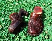 Wooden Woven Studded Dark Brown Hippie Clogs, Size 6 / 36.5