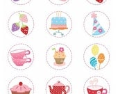Digital clip art for all use, Tea party circle set