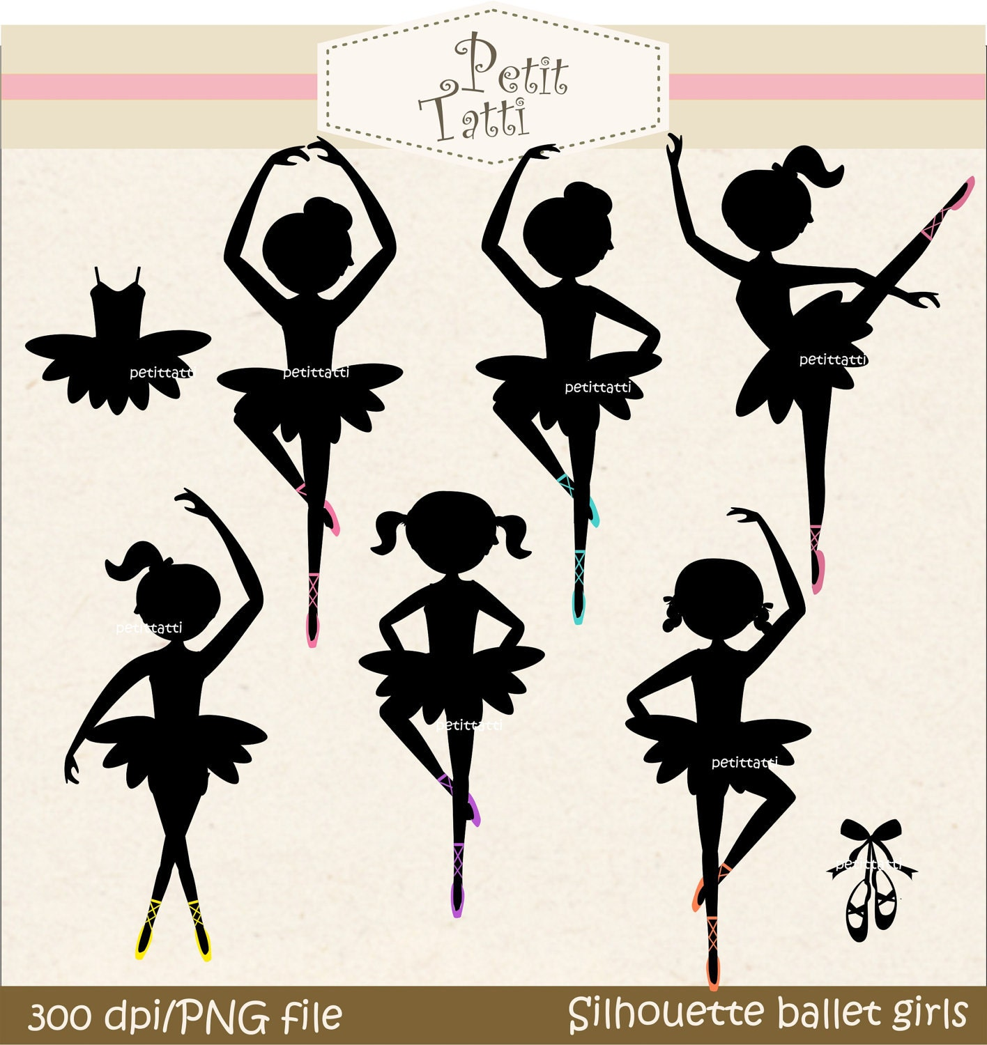 Items similar to Little Girl Wearing Tutu Silhouette Clip Art ...