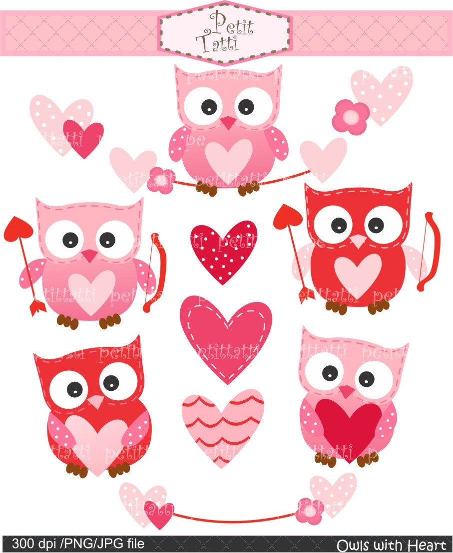 ON SALE Digital clip art for all useOwls with heart by ...