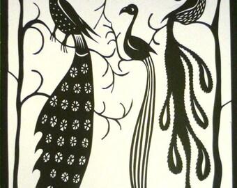 Three Exotic Birds Original Papercut