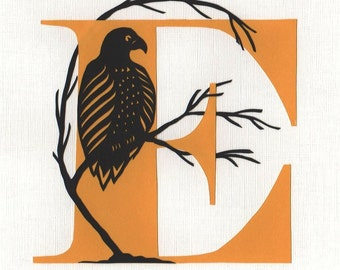 E is for Eagle - Original Papercut Art