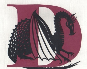 D is for Dragon - Original Papercut Art