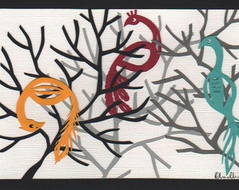 Three Colourful Birds Original Papercut Art