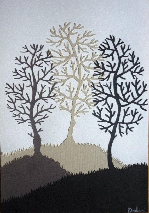 Three Brown Winter Trees Original Papercut