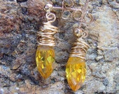 Citrine and gold wire wrapped post earrings