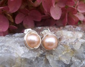Peach freshwater pearl wire wrapped post earrings wedding jewelry bridal jewelry