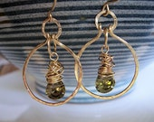 Green quartz and gold wire wrapped hoop earrings, gold hoop earrings