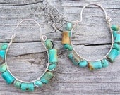 Turquoise and sterling silver wire wrapped hoop earrings, turquoise earrings, turquoise jewelry, southwest jewelry