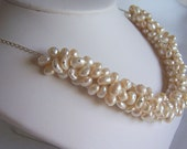Pearl cluster necklace wedding jewelry  bridal jewelry wedding necklace