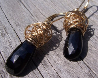 Black spinel and gold wire wrapped earrings, spinel jewellery, spinel earrings