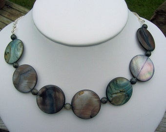 Mother of pearl and sterling silver chain necklace and earrings set, mother of pearl jewelry