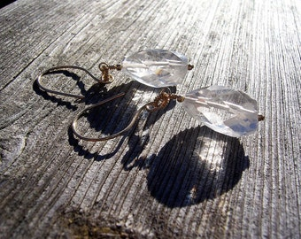 Rock crystal and gold chunky dangle earrings, rock crystal earrings, rock crystal jewelry
