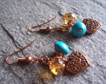Copper heart, turquoise and crystal earrings, turquoise earrings, turquoise jewelry