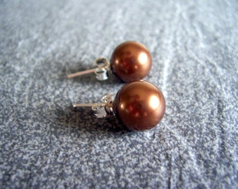 Coffee brown pearl and sterling post earrings, stud earrings