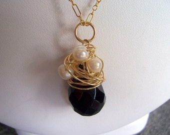 Black onyx, pearl gold cluster necklace