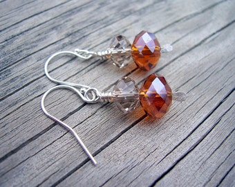 Crystal  and sterling silver paddle earrings