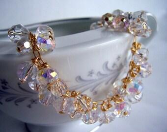 Swarovski and crystal gold cluster bracelet, swarovski bracelet, crystal cuff bracelet, wedding bracelet, wedding jewelry