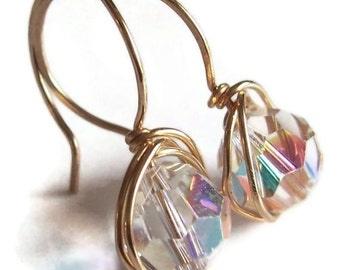 Crystal and gold wire wrapped dangle earrings, crystal earrings, crystal jewelry