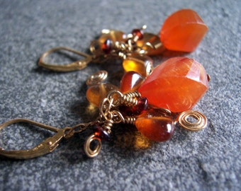 Carnelian earrings, carnelian garnet wire wrapped gold earrings, garnet jewelry, carnelian cluster earrings, cluster earrings