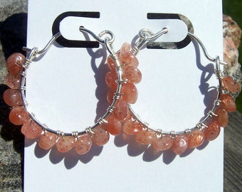 Sunstone and sterling silver wire hoop earrings, sunstone earrings, sunstone jewelry